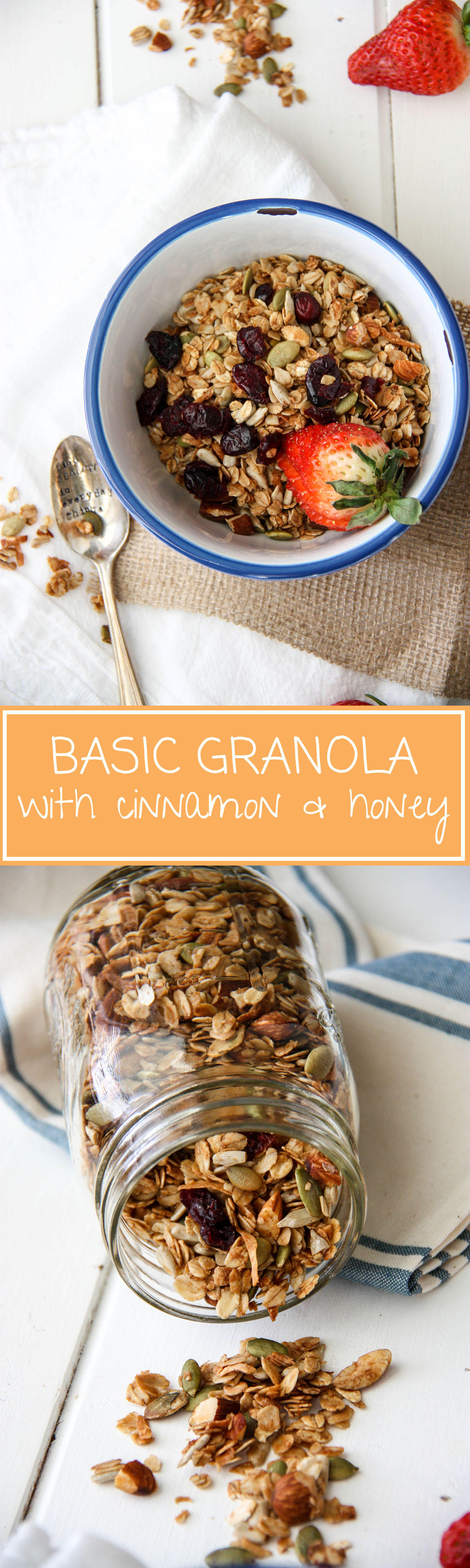Basic Granola with Cinnamon & Honey www.thehomecookskitchen.com - try this easy, healthy breakfast for busy people
