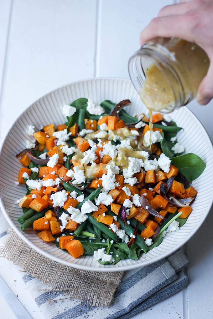 Pumpkin, Feta & Green Bean Salad www.thehomecookskitchen.com perfect for entertaining, light and easy salad