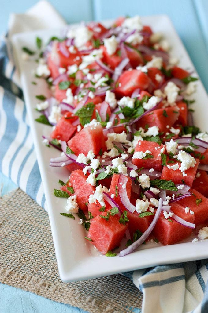 Watermelon Mint Feta Salad www.thehomecookskitchen.co