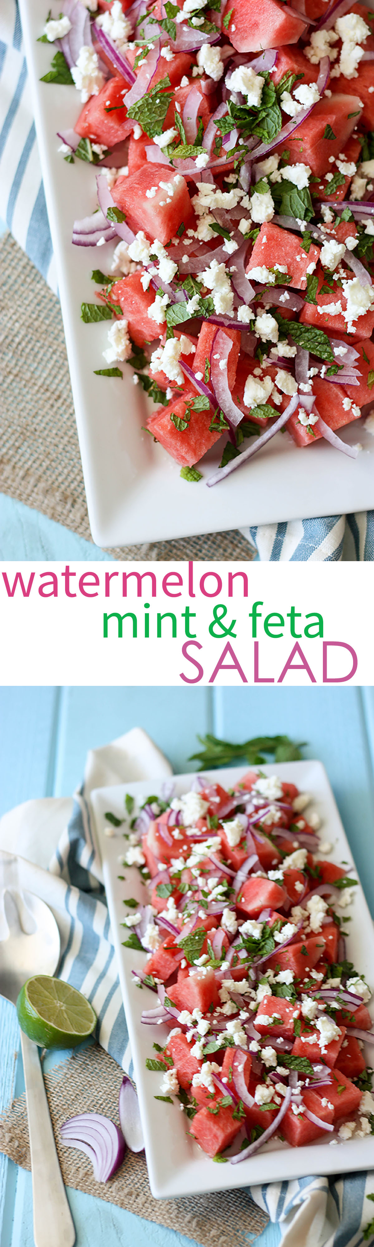 Watermelon Mint Feta Salad www.thehomecookskitchen.com a salad your guests will love