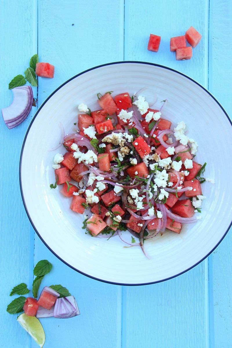 watermelon, mint, feta salad