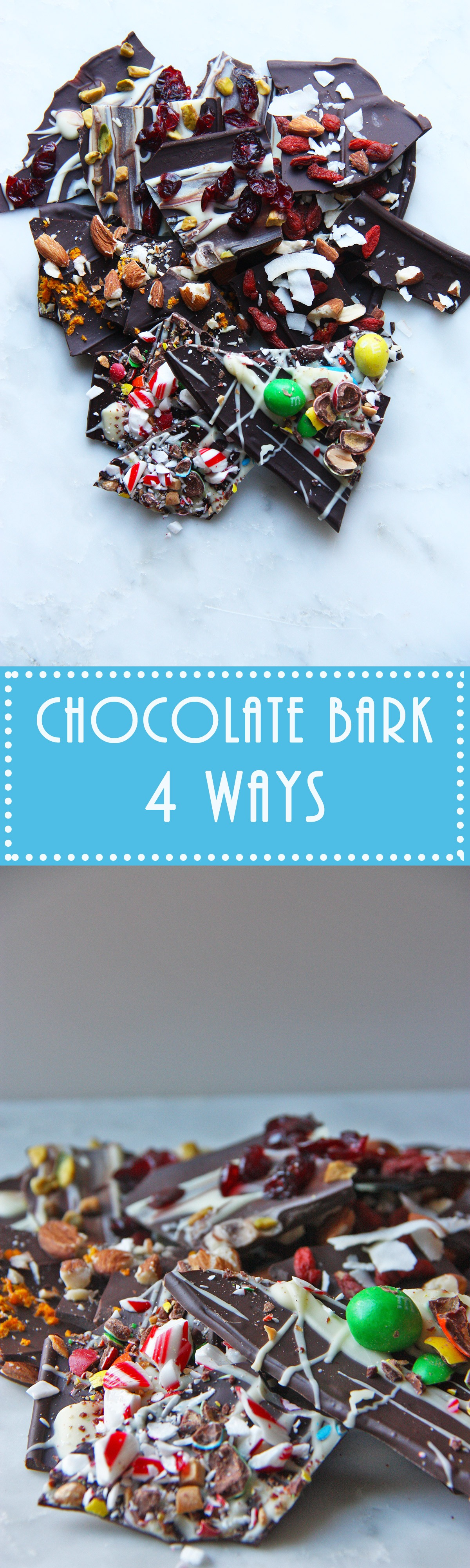 chocolate bark four ways www.thehomecookskitchen.com so easy to make! And totally customisable! Make it for a gift, or as a quick dessert option!