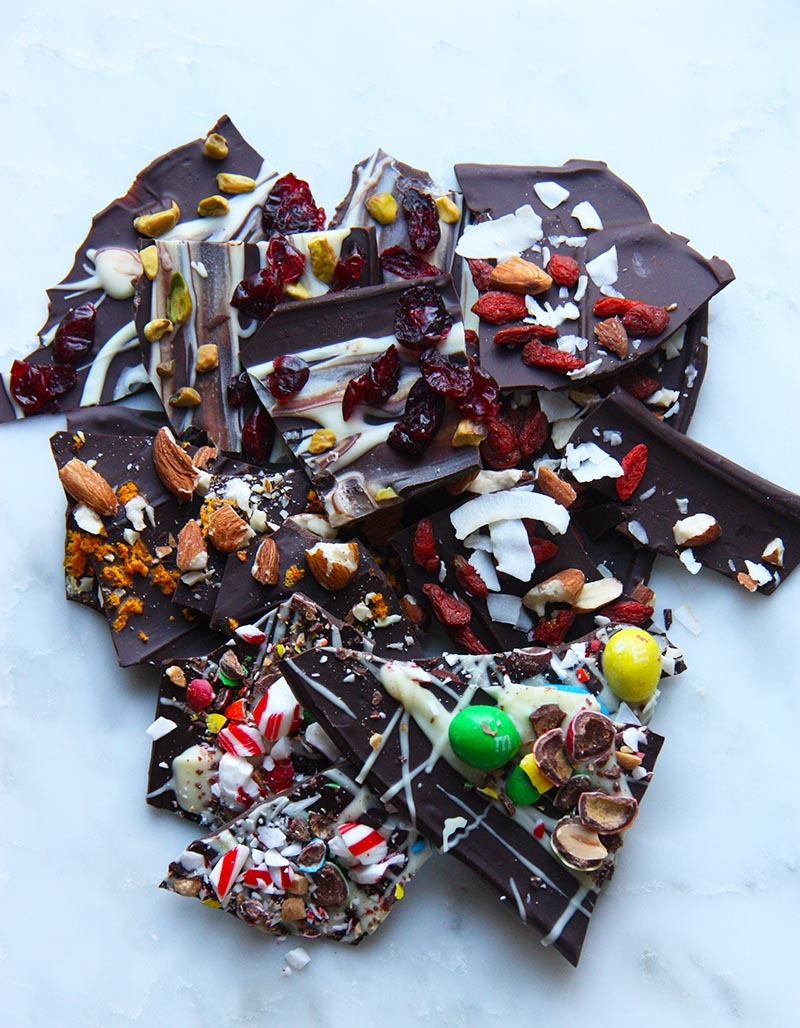 chocolate bark four ways www.thehomecookskitchen.com this recipe is so easy to make, and is completely customizable! perfect gift!