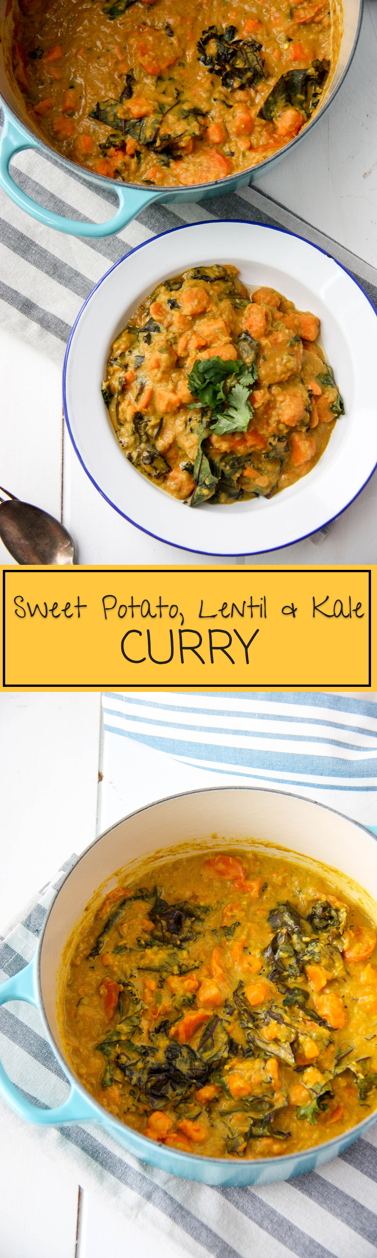 Sweet Potato, Lentil & Kale Curry - perfect vegetarian weeknight meal, healthy www.thehomecookskitchen.com