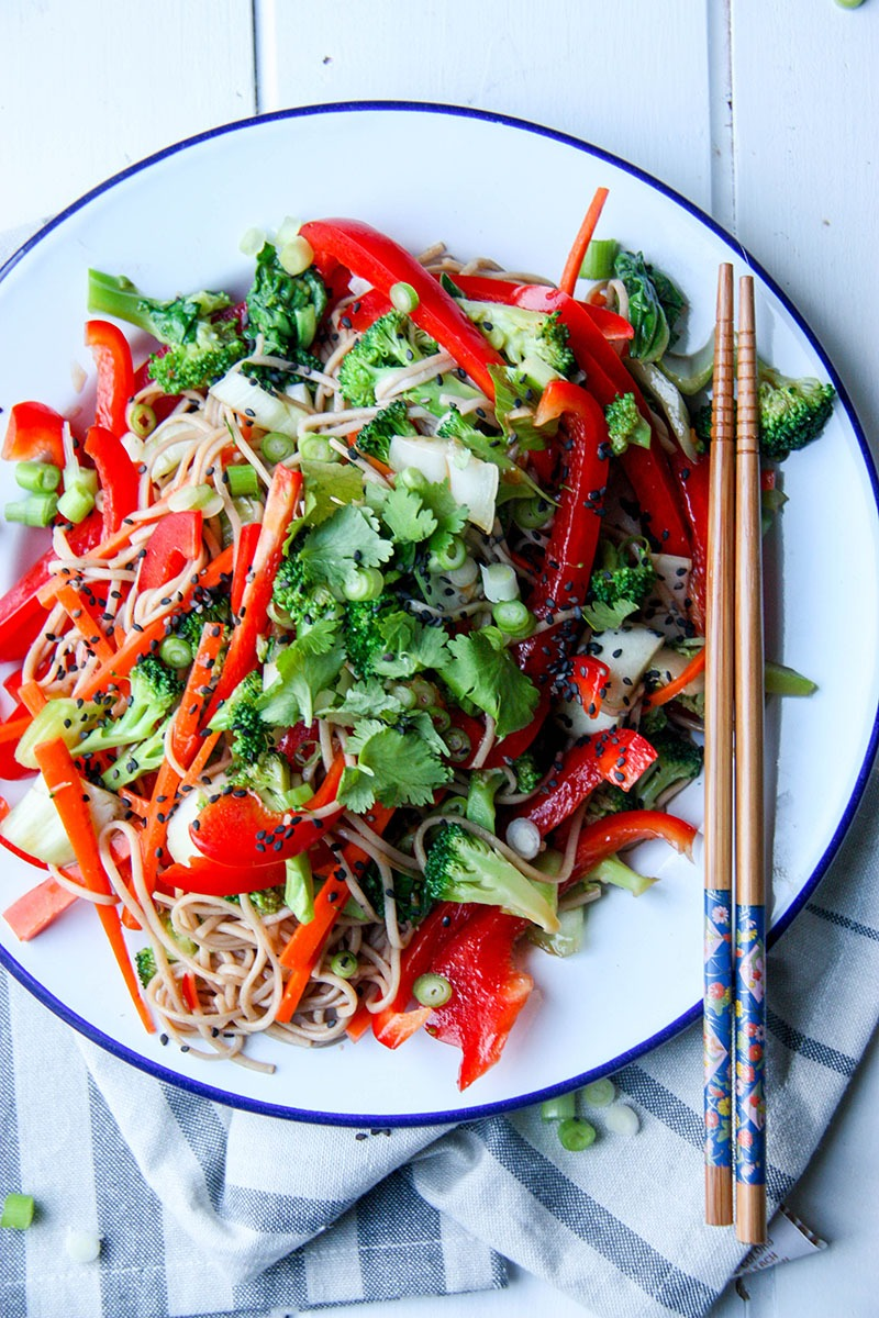 Asian Style Soba Noodle Salad - perfect for a healthy, tasty weeknight meal www.thehomecookskitchen.com