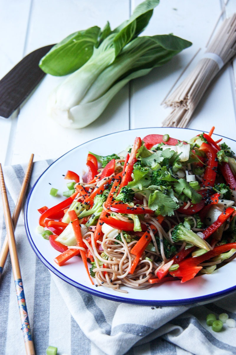 Asian Style Soba Noodle Salad www.thehomecookskitchen.com