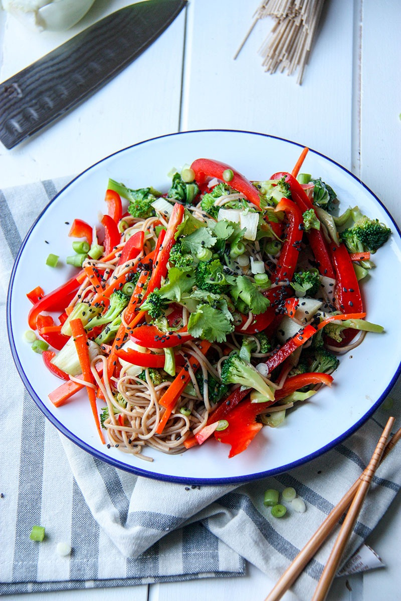 Soba Noodle Salad - perfect for an easy, healthy and delicious week night meal or for entertaining www.thehomecookskitchen.com