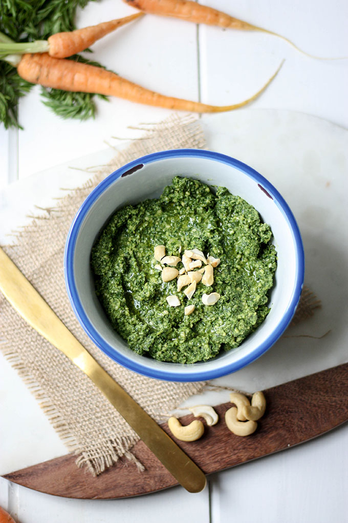 Carrot Top Pesto - a fantastic use for carrot tops! www.thehomecookskitchen.com
