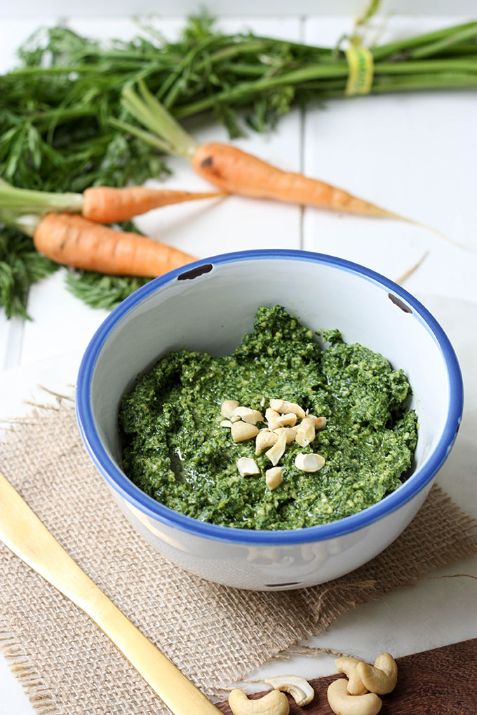 Carrot Top Pesto - a perfect use to an underutilised vegetable! Tangy, delicious and so easy www.thehomecookskitchen.com