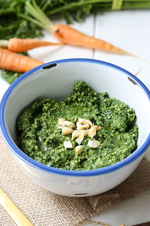 Carrot Top Pesto www.thehomecookskitchen.com easy to make, delicious and a perfect use for the vegetable