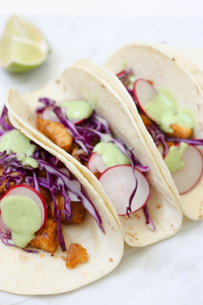 Easy to make, Fish Tacos with Avocado Lime Cream www.thehomecokskitchen.com