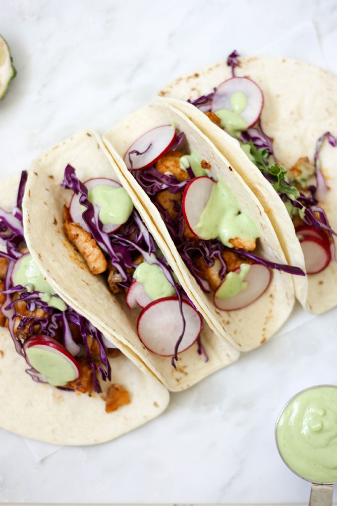 Fish Tacos with Avocado Lime Cream www.thehomecokskitchen.com perfect for a summer dinner
