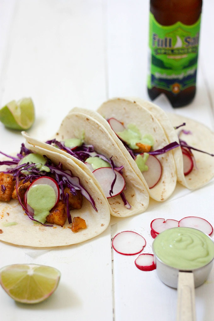 Perfect for summer Fish Tacos with Avocado Lime Cream www.thehomecokskitchen.com