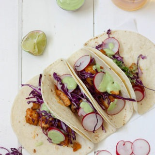 Fish Tacos with Avocado Lime Cream