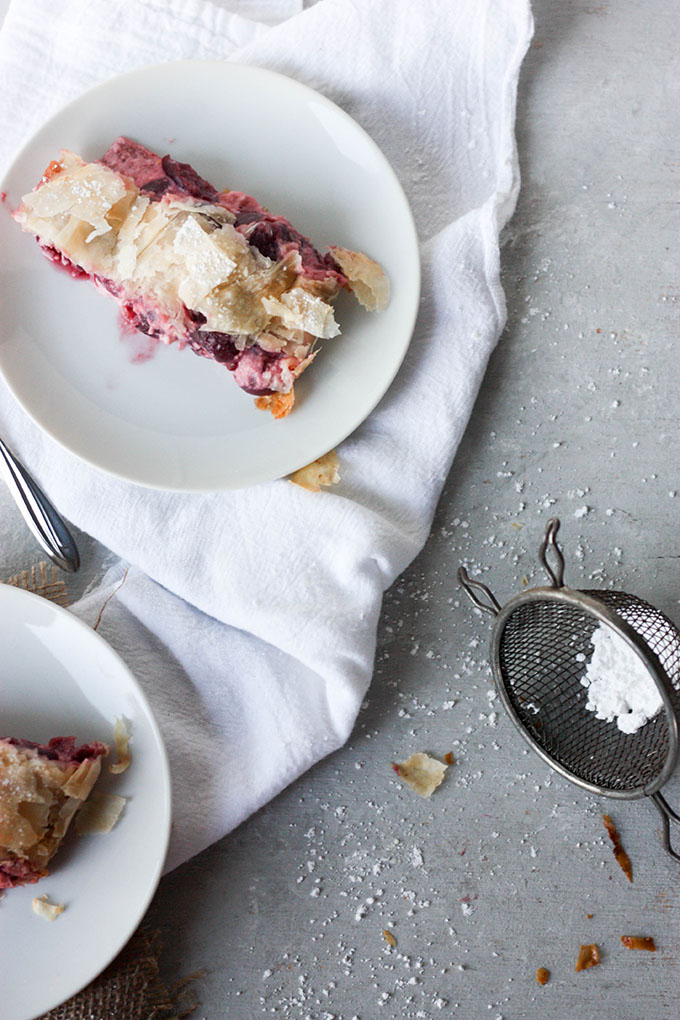Cheese and cherry strudel - a soft creamy center with a crunchy outside www.thehomecookskitchen.com