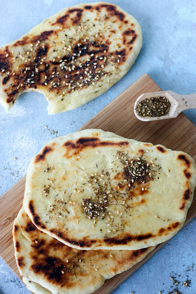Za'atar Naan Bread www.thehomecookskitchen.com light and fluffy bread, with a salty spice blend