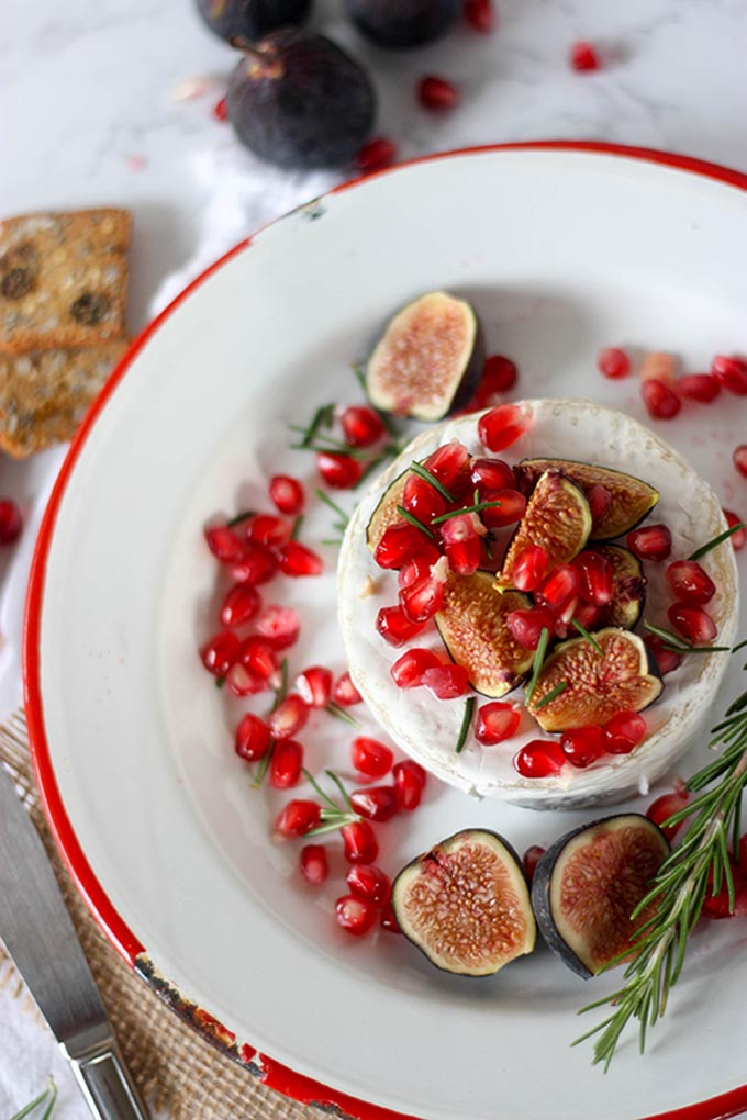 Oven Baked Brie with Fig & Pomegranate www.thehomecookskitchen.com a simple, and very quick appetizer, perfect for the festive season