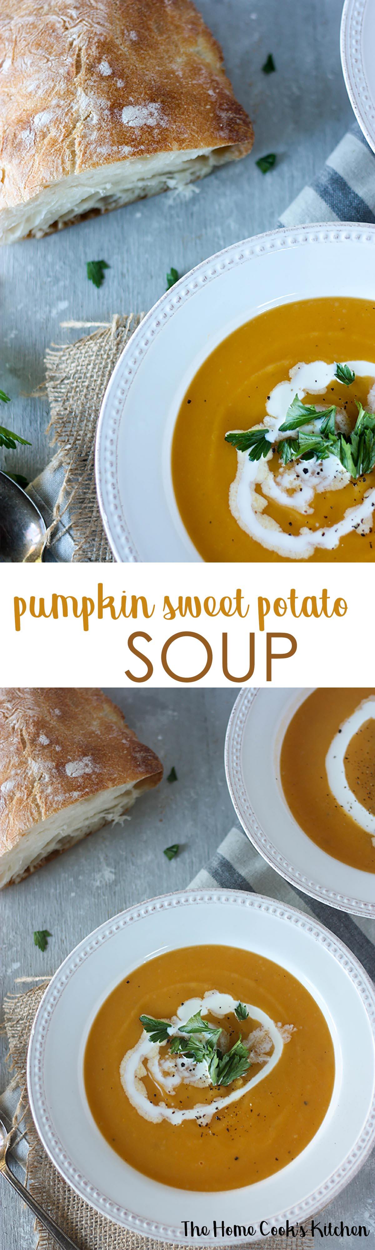 Pumpkin Sweet Potato Soup - a cozy recipe, easy and quick to make www.thehomecookskitchen.com