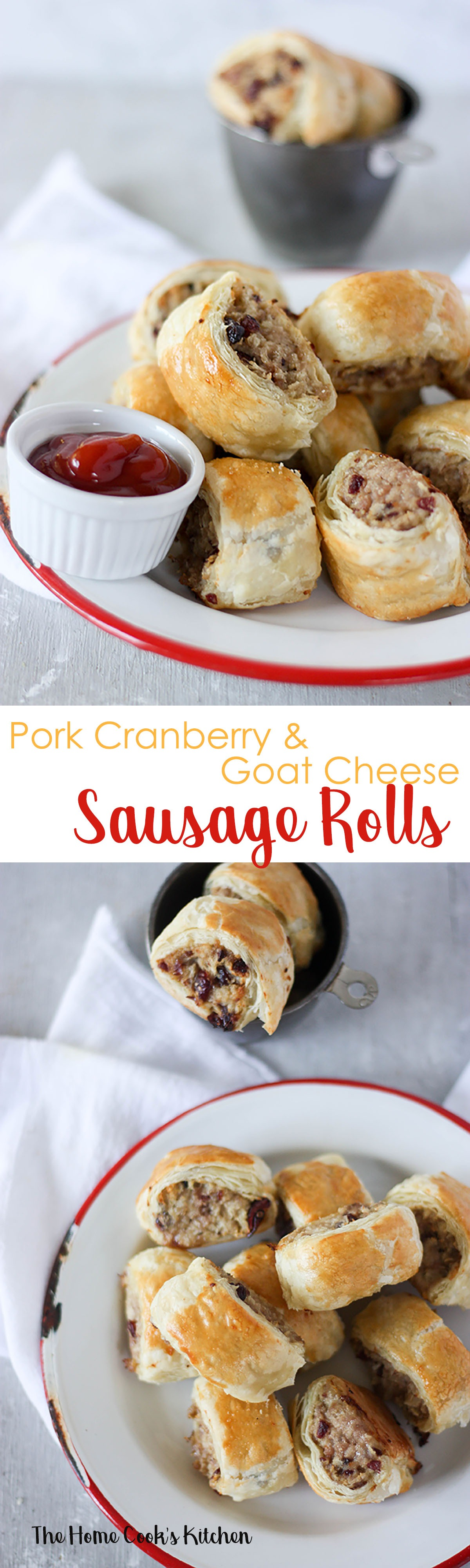 These pork cranberry & goat cheese sausage rolls are great for a quick fuss free party food www.thehomecookskitchen.com