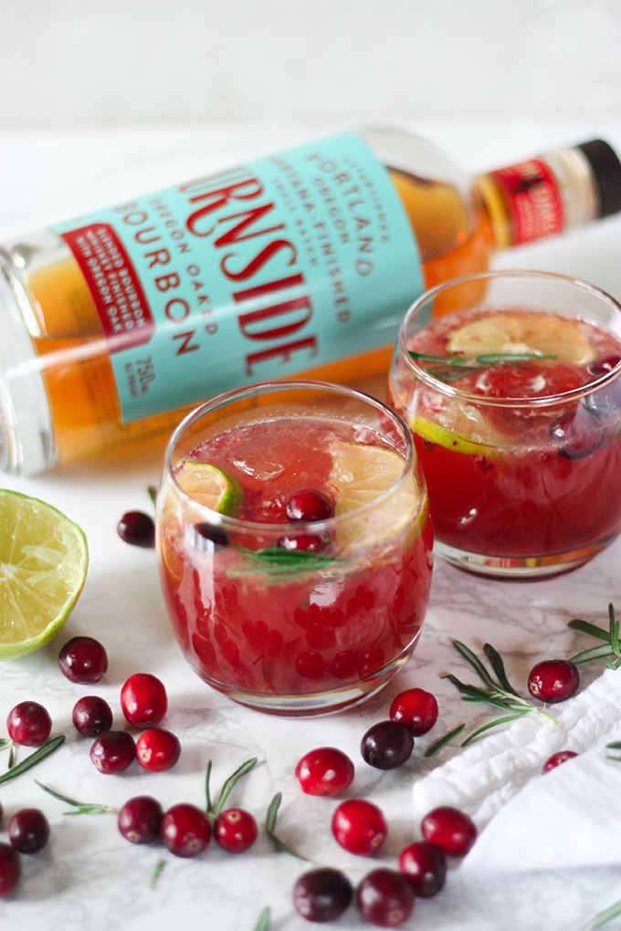 Cranberry Rosemary Bourbon Cocktails an easy quick cocktail for the holidays