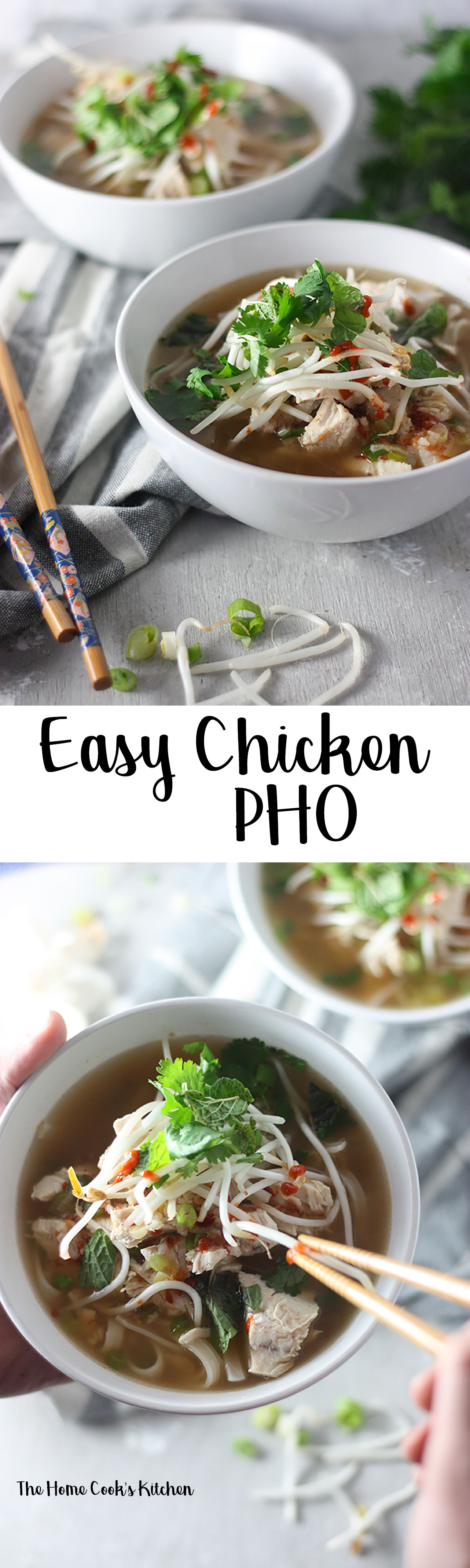 Pin for later easy chicken pho www.thehomecookskitchen.com #weeknightmeal #chickenpho