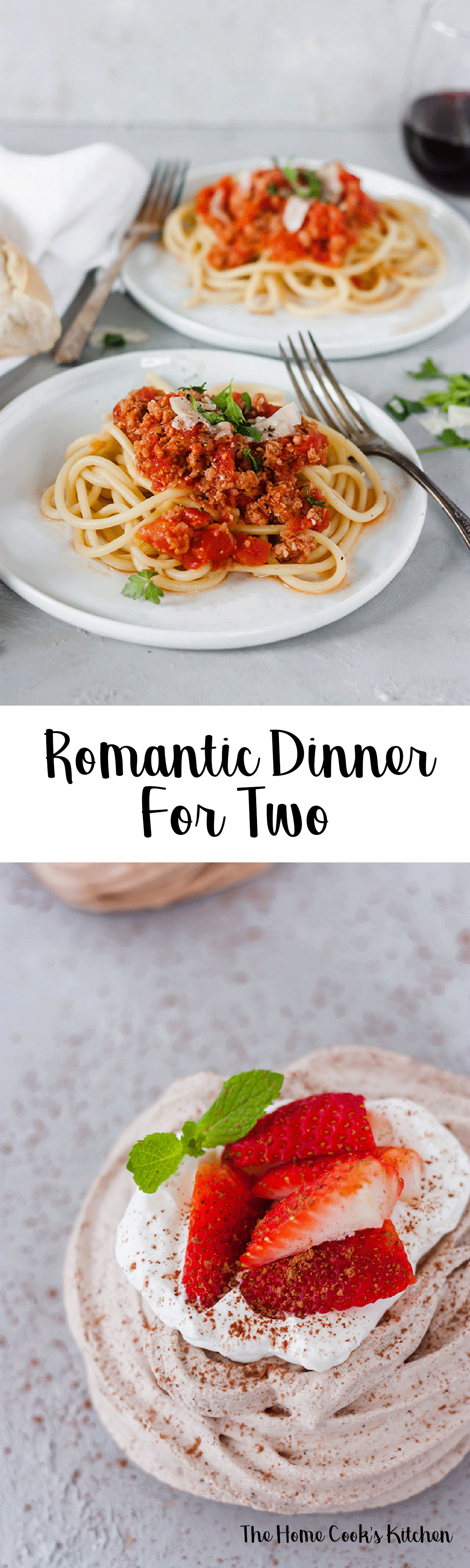 Whether it's a Valentine's Day celebration, or if you're looking to just spoil your S.O, this romantic dinner for two is for you! A beautiful bucatini all'Amatriciana and chocolate meringue nests it's all you need for a great celebration! #romanticdinner #dinnerfortwo #dinnerfortwoathome