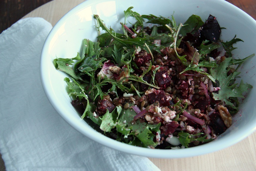 beetroot lentil salad www.thehomecookskitchen.com