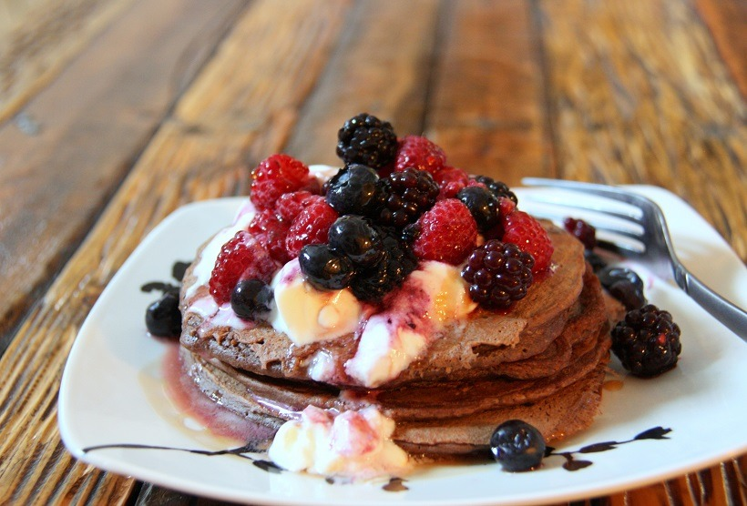chocolate buckwheat pancakes