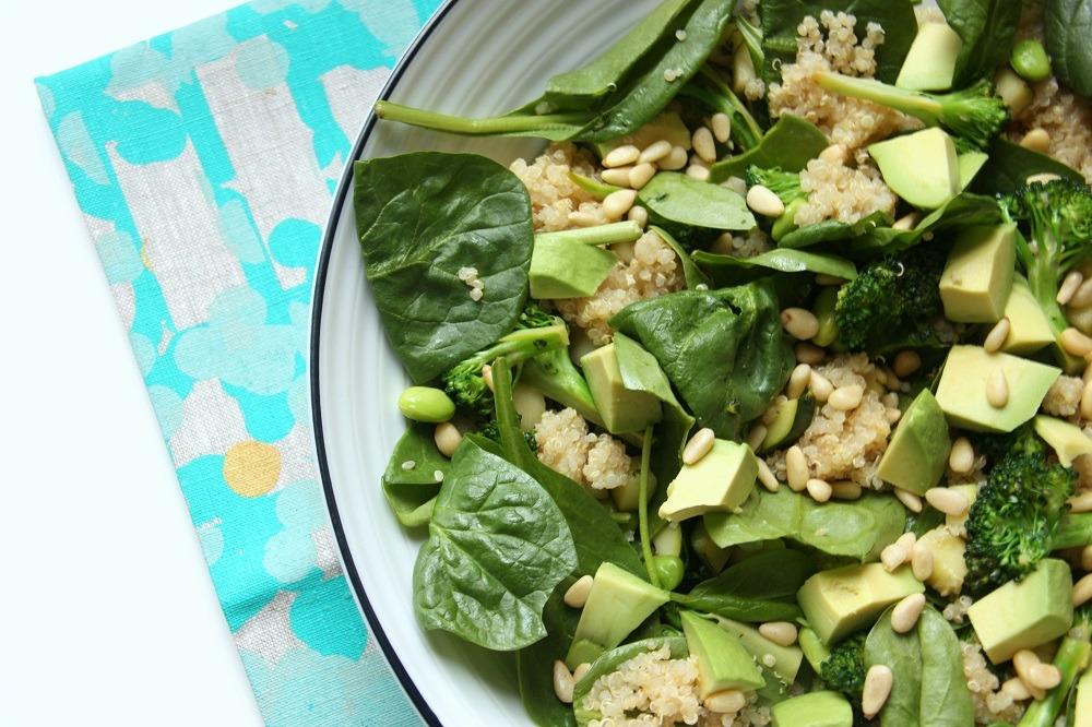 zucchini, quinoa & edamame salad