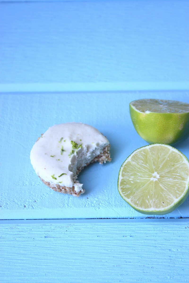 raw coconut & lime cheesecakes