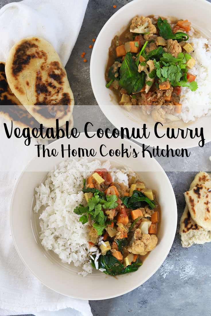This vegetable coconut curry is an easy, quick and hearty meal for a weeknight dinner. Healthy and full of flavor #weeknightdinner #vegetablecurry #vegetablecoconutcurry