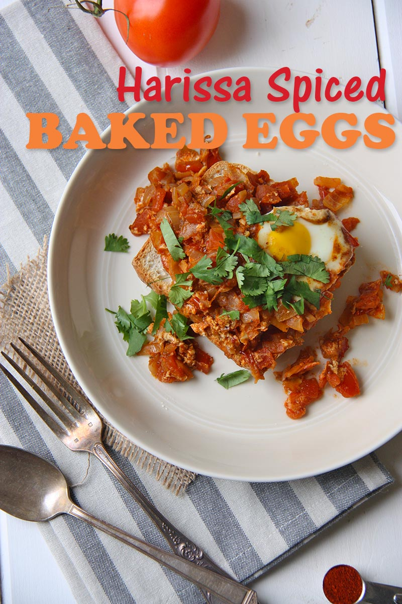 harissa spiced baked eggs www.thehomecookskitchen,com, middle eastern breakfast, baked eggs