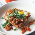 harissa spiced baked eggs healthypears.com healthy breakfast, middle eastern, baked eggs