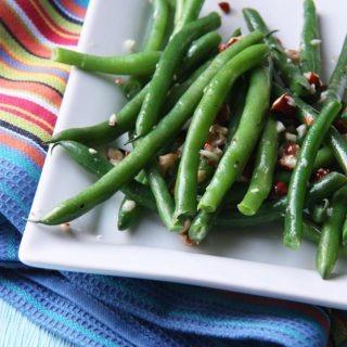 crunchy green beans with hazelnut garlic butter christmas_sidedish