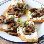 Mushroom Goat Cheese Bruschetta - the perfect meal for a lazy weekend brunch www.thehomecookskitchen
