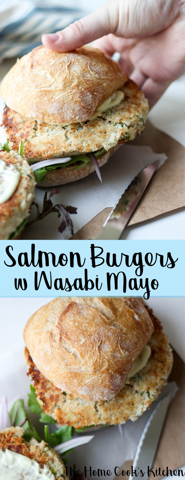A great meal for Easter, or easy weeknight entertaining, these salmon burgers with wasabi mayo is a simple, easy and quick recipe to make! #salmonburgers #salmon #burgers