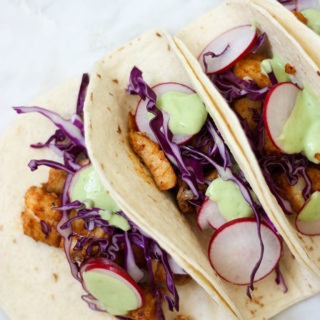 Fish Tacos with Avocado Lime Cream www.thehomecokskitchen.com