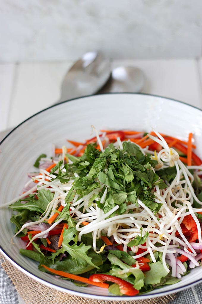 Thai Green Salad - fresh and light, perfect for the warmer days. Easy to make, perfect for a crowd www.thehomecookskitchen.com