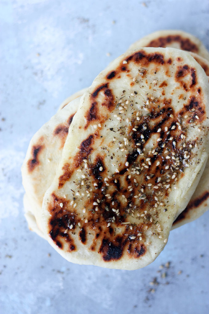 Light, fluffy naan bread www.thehomecookskitchen.com Za'atar Naan Bread