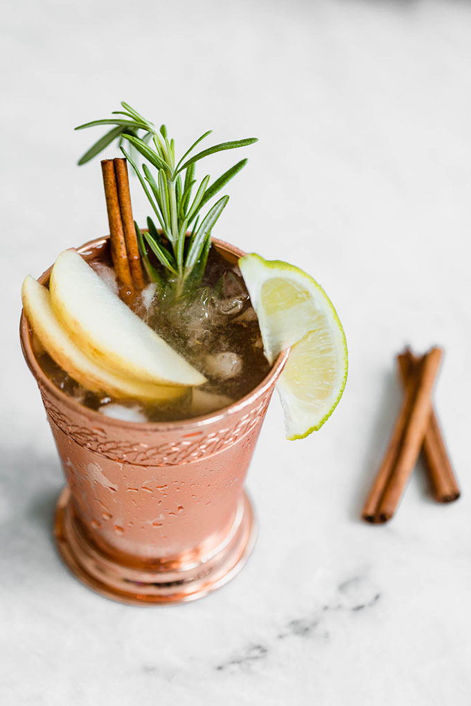 autumn moscow mule on marble board