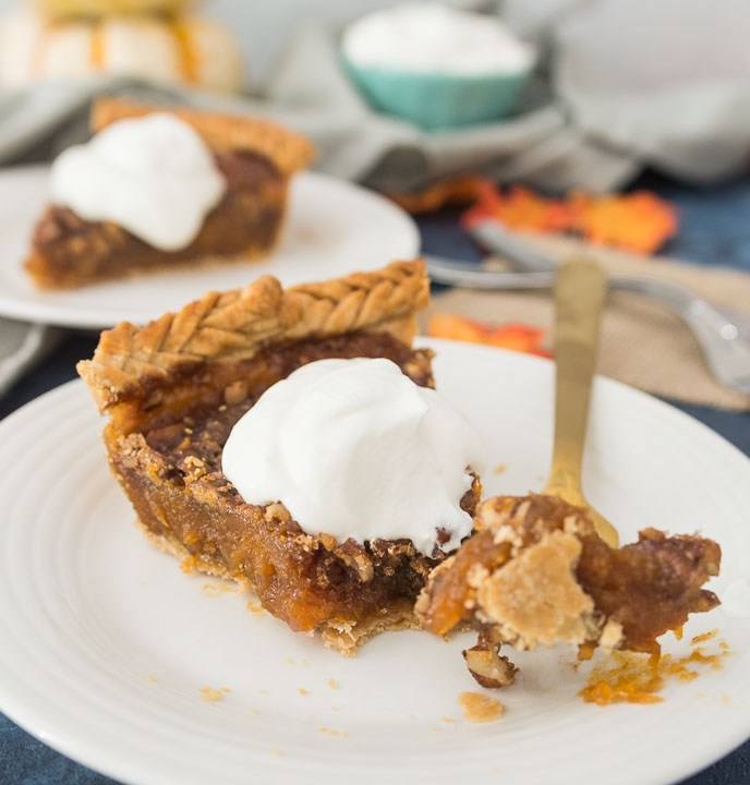 sweet potato pecan pie on white bowl