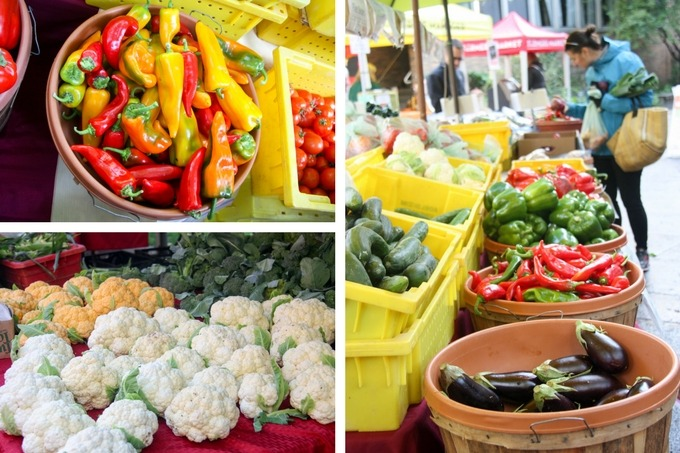 farmers market collage top left bell peppers, bottom left cauliflower, right image market produce
