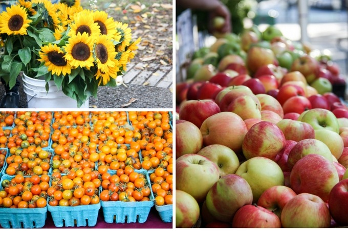 farmers market produce collage top left sunflowers, bottom left tomatoes, right image fresh apples