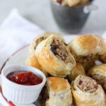 Pork Cranberry & Goat Cheese sausage rolls - the perfect party appetizer find the recipe at www.thehomecookskitchen.com