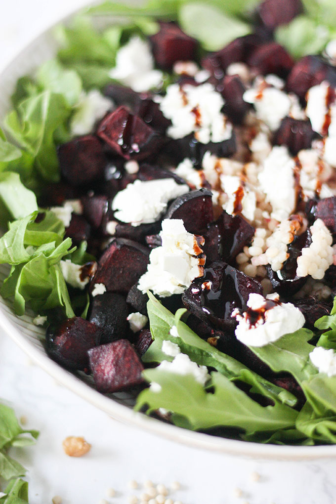 beetroot goat cheese salad a great, hearty winter salad www.thehomecookskitchen.com