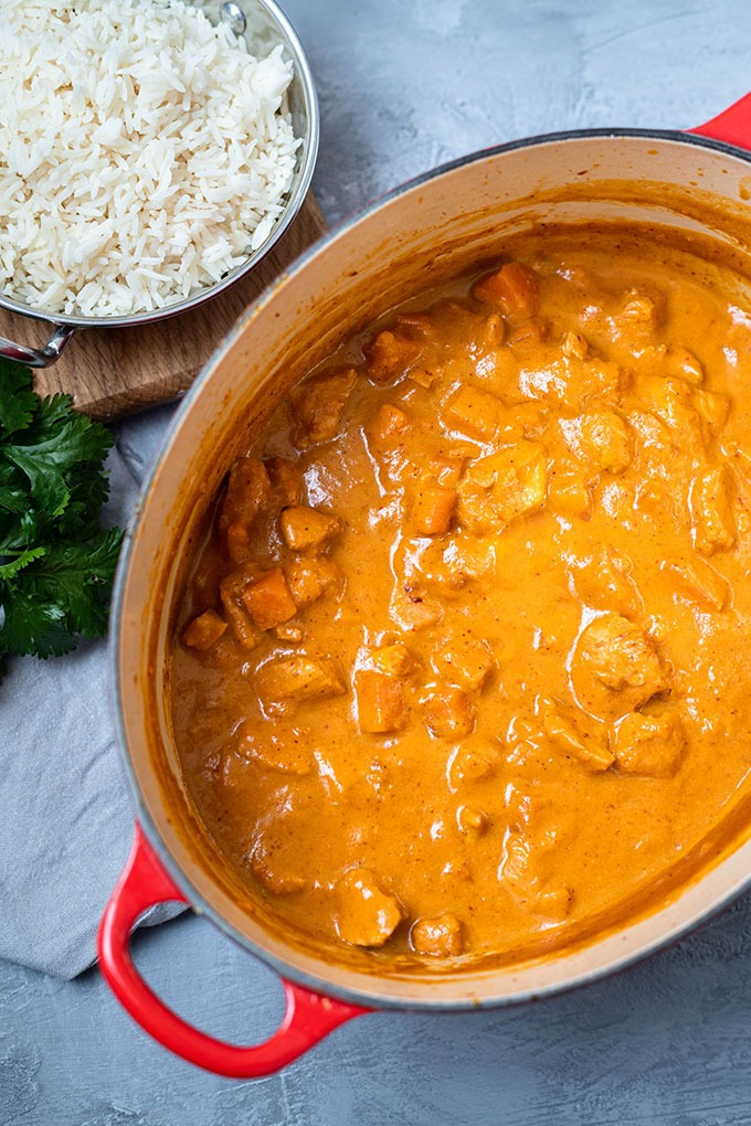 cooked chicken massaman curry in dutch oven