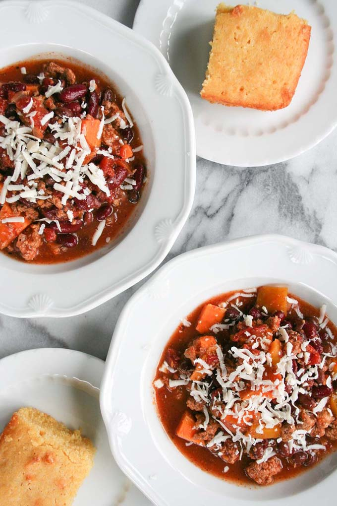 20 fall recipes for a dinner party crockpot-turkey-and-sweet-potato-chili-1