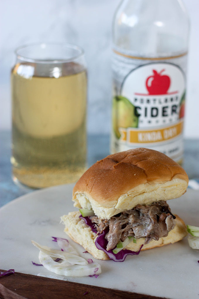 Apple Cider Pulled Pork Sliders www.thehomecookskitchen.com - a great recipe for your next game day party!