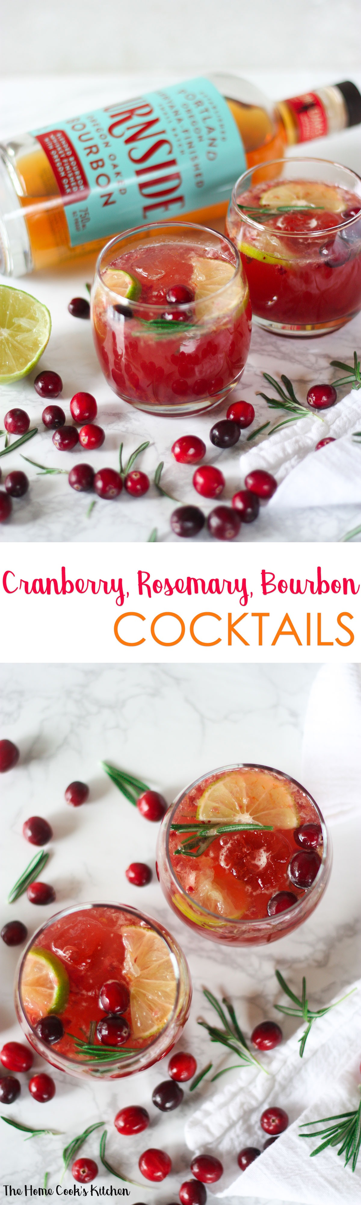 Cranberry Rosemary Bourbon Cocktails pin for later!