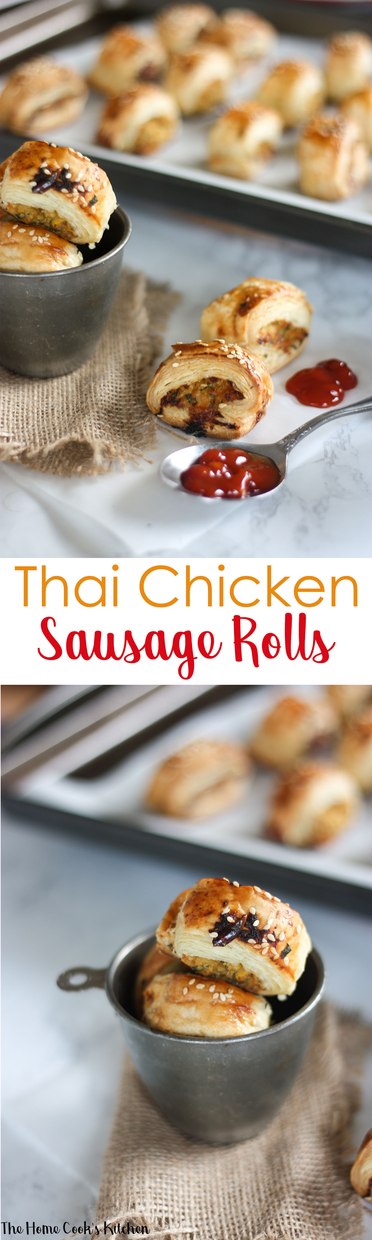 Thai Chicken Sausage Rolls www.thehomecookskitchen.com pin for #gameday